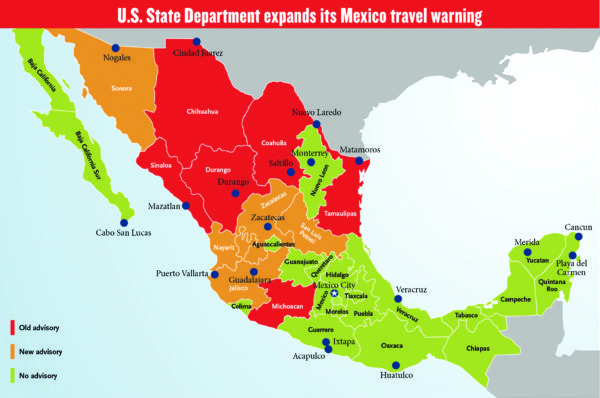 mexico travel warning map 2017